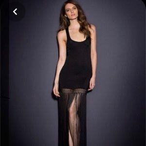 Agent provocateur Myllena black fringe slip dress